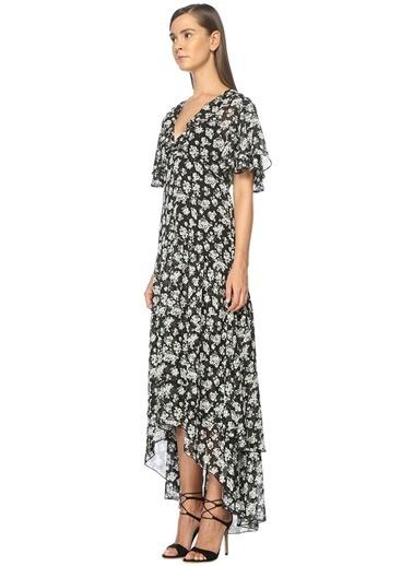 Çiçekli Fırfırlı Uzun Elbise-Academia